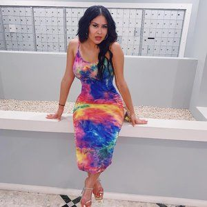 Body con long multi color dress